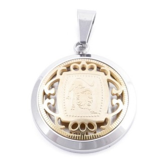49102-07 STAINLESS STEEL 25 MM PENDANT WITH HOROSCOPE SYMBOL: LEO