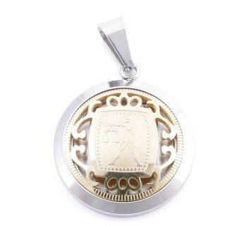 49102-09 STAINLESS STEEL 25 MM PENDANT WITH HOROSCOPE SYMBOL: LIBRA