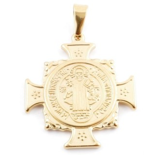 49440 STAINLESS STEEL GOLD COLOUR PENDANT IN SHAPE OF SAINT BENEDICT CROSS 39 X 35 MM