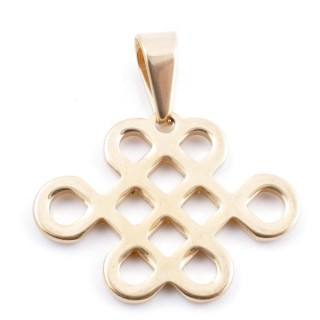 49413 STAINLESS STEEL GOLD COLOUR PENDANT IN SHAPE OF ENDLESS KNOT 23 X 30 MM