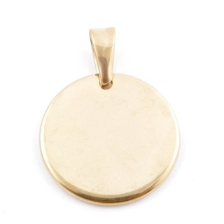 49417 STAINLESS STEEL GOLD COLOUR 25 MM ROUND PENDANT
