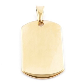 49418 STAINLESS STEEL GOLD COLOUR PENDANT IN SHAPE OF DOG TAG 35 X 23 MM