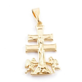 49434 STAINLESS STEEL GOLD COLOUR PENDANT IN SHAPE OF CARAVACA'S CROSS 36 X 21 MM