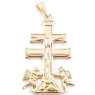 49437 STAINLESS STEEL GOLD COLOUR PENDANT IN SHAPE OF CARAVACA'S CROSS 48 X 30 MM
