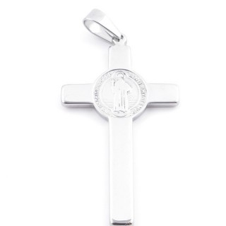 49423 STAINLESS STEEL PENDANT IN SHAPE OF CROSS WITH SAINT BENEDICT 55 X 31 MM