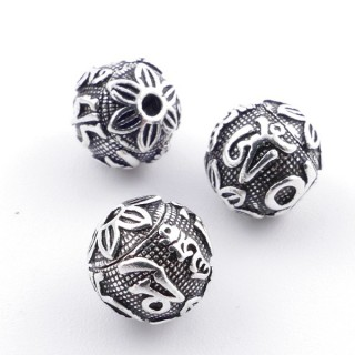 3649300 PACK OF 3 TIBETIAN DESIGN SILVER 925 18 MM BEADS