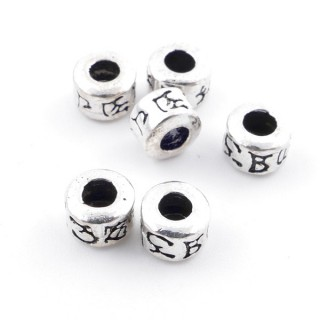 36497 PACK OF 6 SILVER 4 X 5 MM BEADS WITH 2 MM HOLE