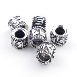 36495 PACK OF 6 SILVER 5 X 5 MM BEADS WITH 3 MM HOLE