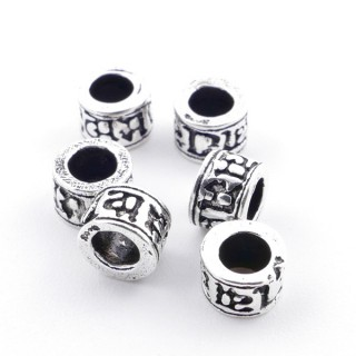 36492 PACK OF 6 SILVER 4 X 5,5 MM BEADS WITH 3 MM HOLE