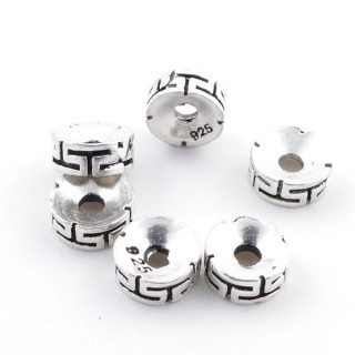 36496 PACK 6 STERLING SILVER 6 X 2.5 MM DISCS WITH 1 MM HOLE