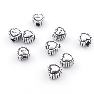 36498 PACK OF 10 SILVER FLOWER HEARTS 5 X 5 MM WITH 1 MM HOLE