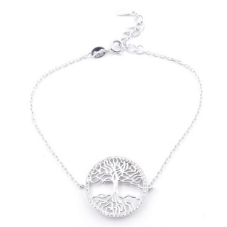 4945500 RHODIUM PLATED SILVER TREE OF LIFE 17 + 2 CM BRACELET