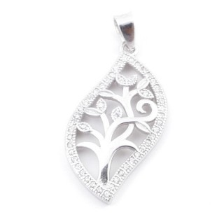 4945700 RHODIUM PLATED TREE SHAPED 27 X 15 MM PENDANT WITH ZIRCONS
