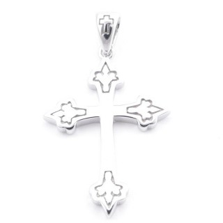 4948900 RHODIUM PLATED SILVER CROSS SHAPED 26 X 18 MM PENDANT.