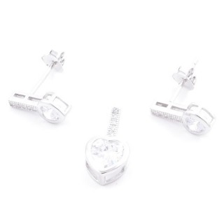 4949700 RHODIUM PLATED SILVER & ZIRCON 14 X 7 MM SET OF PENDANTS AND EARRINGS