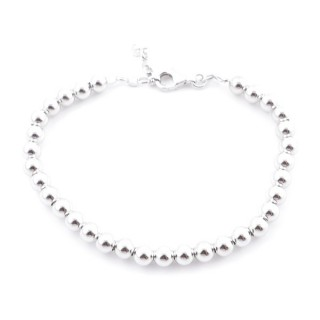 4945100 RHODIUM PLATED SILVER 5 MM BALL BRACELET 18 + 3 CM