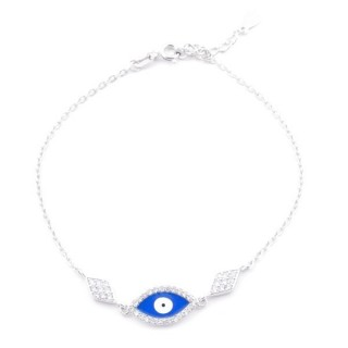 49454-02 RHODIUM PLATED SILVER 17 + 3 CM ZIRCON BRACLET WITH EVIL EYE DESIGN