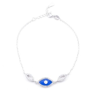 49454-03 RHODIUM PLATED SILVER 17 + 3 CM ZIRCON BRACLET WITH EVIL EYE DESIGN