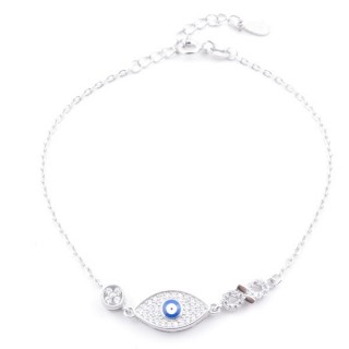 49454-04 RHODIUM PLATED SILVER 17 + 3 CM ZIRCON BRACLET WITH EVIL EYE DESIGN