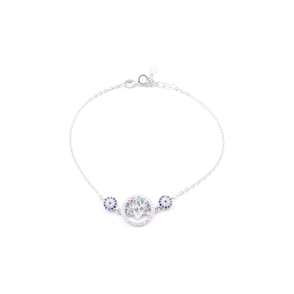 49454-05 RHODIUM PLATED SILVER 17 + 3 CM ZIRCON BRACLET WITH EVIL EYE DESIGN
