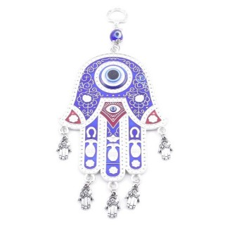 38567 METAL TURKISH EVIL EYE & HAMSA 21 X 9 CM HANGING CHARM