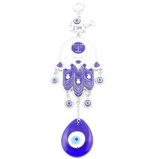 38570 METAL TURKISH EVIL EYE & HAMSA 24 X 17 CM HANGING CHARM