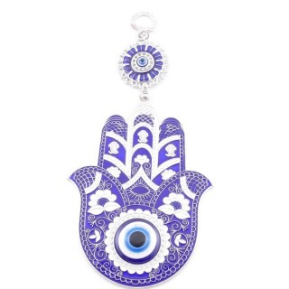 38571 METAL TURKISH EVIL EYE & HAMSA 21 X 10 CM HANGING CHARM