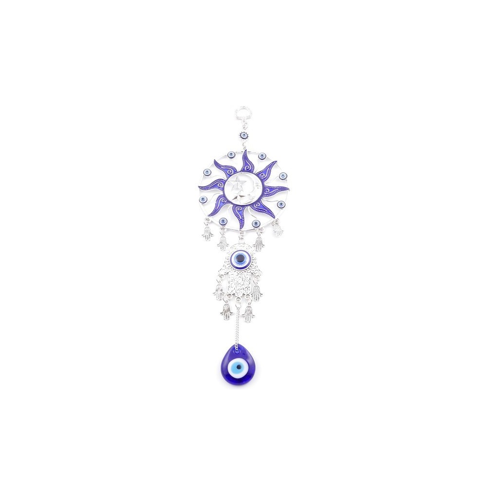 38572 METAL TURKISH EVIL EYE & SUN AND MOON 30 X 10 CM HANGING CHARM