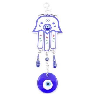 38573 METAL TURKISH EVIL EYE & HAMSA 27 X 9 CM HANGING CHARM