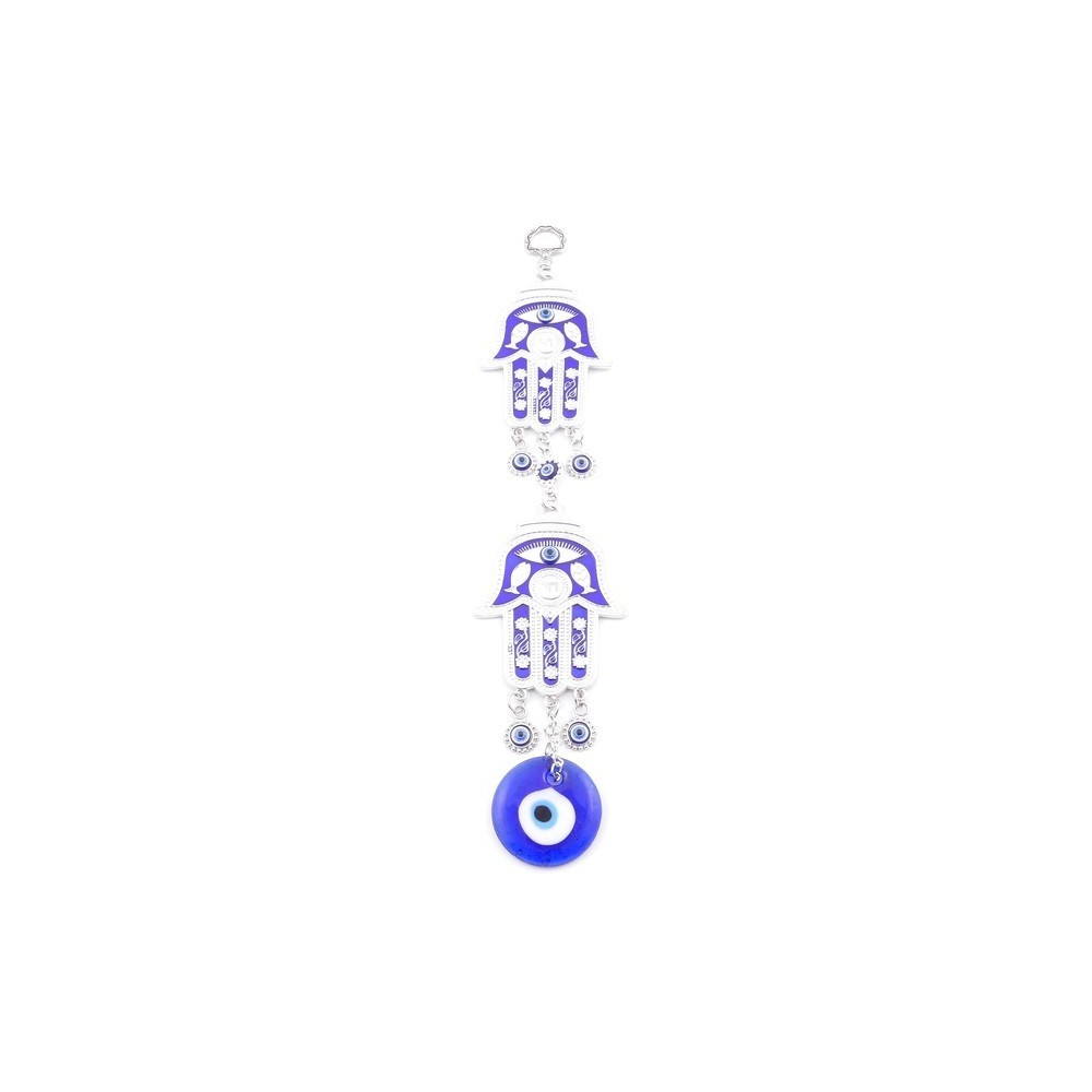 38574 METAL TURKISH EVIL EYE & HAMSA 29 X 6 CM HANGING CHARM