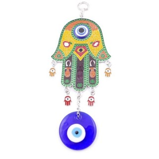 38575 METAL TURKISH EVIL EYE & HAMSA 23 X 10 CM HANGING CHARM