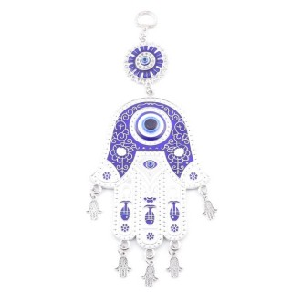 38566 METAL TURKISH EVIL EYE & HAMSA 23 X 10 CM HANGING CHARM