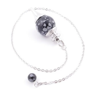 3895424 PENDULUM MADE OF 26 CM CHAIN AND 18 MM STONE IN SNOWFLAKE OBSIDIAN