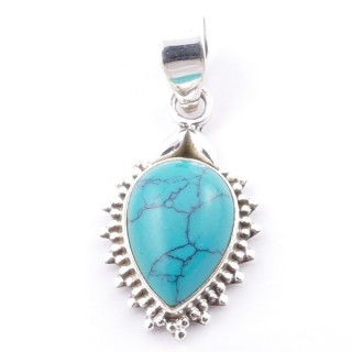 58700-07 SILVER 925 PENDANT 25 X 15 MM WITH TURQUOISE STONE