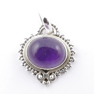 58701-06 SILVER 925 PENDANT 21 X 19 MM WITH AMETHYST STONE