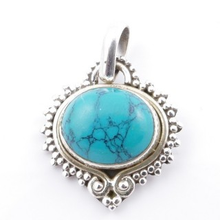 58701-07 SILVER 925 PENDANT 21 X 19 MM WITH TURQUOISE STONE