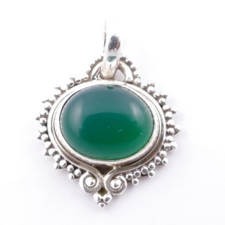 58701-16 SILVER 925 PENDANT 21 X 19 MM WITH GREEN AVENTURINE STONE