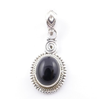 58702-04 SILVER 925 PENDANT 26 X 14 MM WITH ONYX STONE