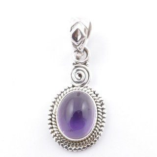 58702-06 SILVER 925 PENDANT 26 X 14 MM WITH AMETHYST STONE