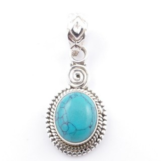 58702-07 SILVER 925 PENDANT 26 X 14 MM WITH TURQUOISE STONE