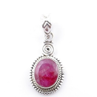58702-09 SILVER 925 PENDANT 26 X 14 MM WITH FACETED RUBY STONE