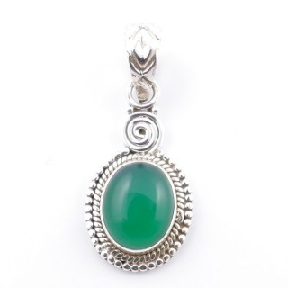 58702-16 SILVER 925 PENDANT 26 X 14 MM WITH GREEN AVENTURINE STONE