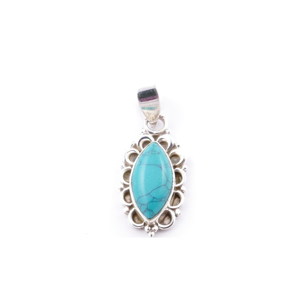 58703-07 SILVER 925 PENDANT 23 X 12 MM WITH TURQUOISE STONE