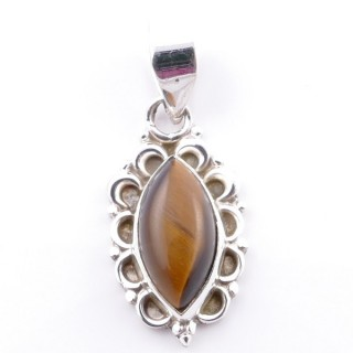 58703-11 SILVER 925 PENDANT 23 X 12 MM WITH TIGER'S EYE STONE