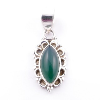58703-16 SILVER 925 PENDANT 23 X 12 MM WITH GREEN AVENTURINE STONE
