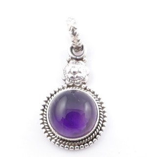 58704-06 SILVER 925 PENDANT 26 X 15 MM WITH AMETHYST STONE