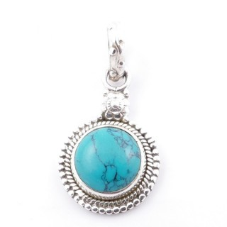 58704-07 SILVER 925 PENDANT 26 X 15 MM WITH TURQUOISE STONE