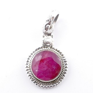 58704-09 SILVER 925 PENDANT 26 X 15 MM WITH FACETED RUBY STONE