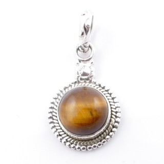 58704-11 SILVER 925 PENDANT 26 X 15 MM WITH TIGER'S EYE STONE