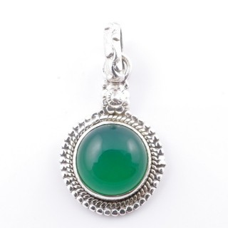 58704-16 SILVER 925 PENDANT 26 X 15 MM WITH GREEN AVENTURINE STONE